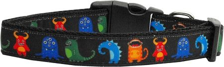 Dog Collars: Nylon Ribbon Dog Collar BLACK MONSTERS by Mirage Pet Products USA - Matching Leash Sold Separately