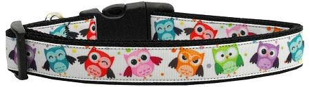 Dog Collars: Nylon Dog Collar BRIGHT OWLS by Mirage Pet Products USA - Matching Leash Sold Separately