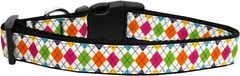 Dog Collars: Nylon Ribbon Collar COLORFUL ARGYLE by Mirage Pet Products - Matching Leash Sold Separately
