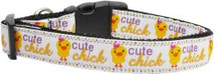 Dog Collars: Nylon Ribbon Collar CUTE CHICK by MiragePetProducts USA - Matching Leash Sold Separately