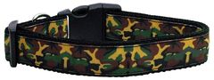 Dog Collars: Nylon Ribbon Collar GREEN CAMO - Matching Leash Sold Separately