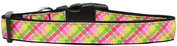 Dog Collars: Nylon Ribbon Collar LEMONDROP PLAID - Matching Leash Sold Separately