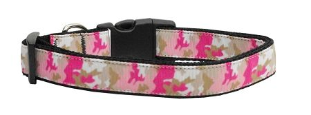 Dog Collars: Nylon Ribbon Collar PINK CAMO by MiragePetProducts - Matching Leash Sold Separately