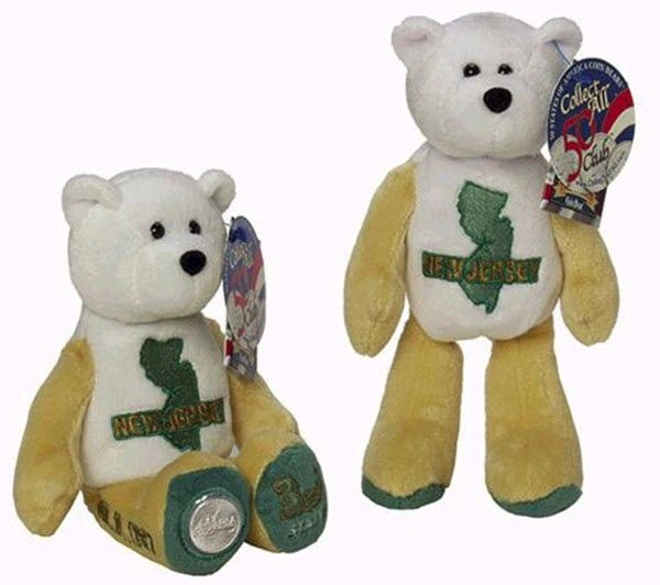 COIN BEAR #3 NEW JERSEY State Quarter Coin Collectible PLUSH Bear LIMITED TREASURES