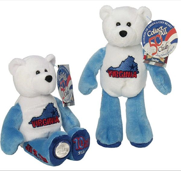 "COIN BEAR #10 VIRGINIA State Quarter Coin Collectible Plush 9"" Bear LIMITED TREASURES"