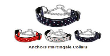 MARTINGALE DOG COLLARS: Nylon Ribbon Dog Collar ANCHORS - Matching Leash Sold Separately