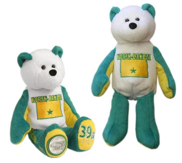 COIN BEAR #39 North Dakota State Quarter Plush Collectible Bear LIMITED TREASURES