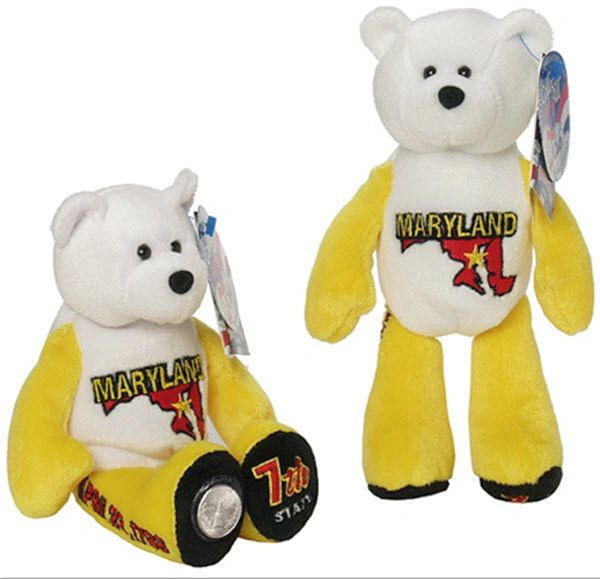 COIN BEAR #7 Maryland State Quarter Coin Collectible Plush Bear LIMITED TREASURES