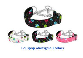 MARTINGALE DOG COLLARS: Nylon Ribbon LOLLIPOPS Dog Collar - Matching Leash Sold Separately