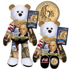 COIN BEAR Presidential Gold Dollar Plush Bear - #04 JAMES MADISON Limited Treasures
