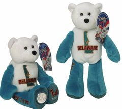 """COIN BEAR #1 DELAWARE State Quarter PLUSH COLLECTIBLE Coin 9"""" BEAR LIMITED TREASURES"""