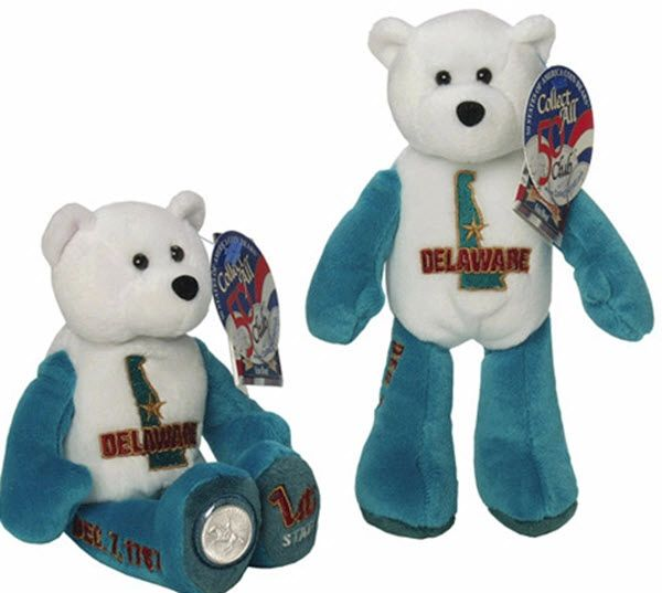 "COIN BEAR #1 DELAWARE State Quarter PLUSH COLLECTIBLE Coin 9"" BEAR LIMITED TREASURES"