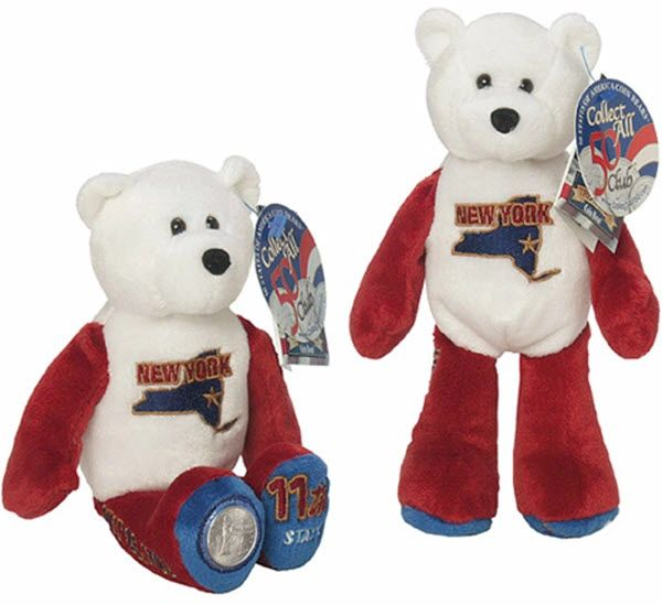 """COIN BEAR #11 NEW YORK State Collectible 9"""" PLUSH BEAR - LIMITED TREASURES"""
