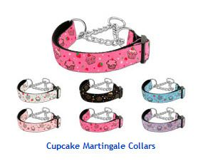 MARTINGALE DOG COLLARS: Nylon Ribbon Dog Collar CUPCAKES - Matching Leash Sold Separately
