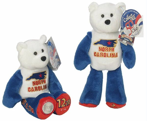 "COIN BEAR #12 NORTH CAROLINA State 9"" Collectible PLUSH BEAR - LIMITED TREASURES"