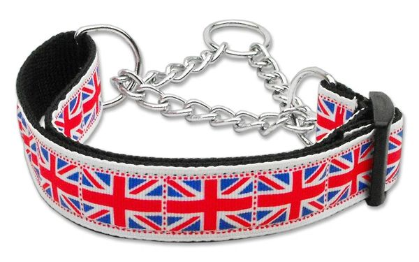 MARTINGALE DOG COLLARS: Nylon Ribbon Dog Collar TILED UNION JACK (UK Flag) - Matching Leash Sold Separately