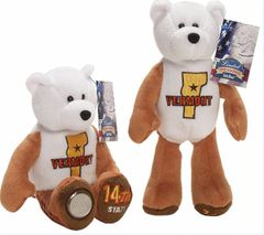 COIN BEAR #14 VERMONT State Quarter Coin Collectible Plush Bear LIMITED TREASURES