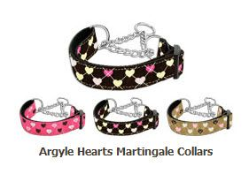 MARTINGALE DOG COLLARS: Nylon Ribbon ARGYLE HEARTS Dog Collar - Matching Leash Sold Separately
