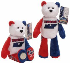 "COIN BEAR #16 TENNESSEE State Coin 9"" Collectible PLUSH BEAR - LIMITED TREASURES"