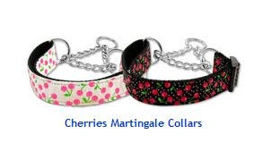 MARTINGALE DOG COLLARS: Nylon Ribbon Dog Collar CHERRIES - Matching Leash Sold Separately