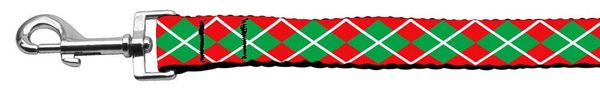 MARTINGALE DOG COLLARS: Nylon Ribbon Dog Collar CHRISTMAS ARGYLE - Matching Leash Sold Separately