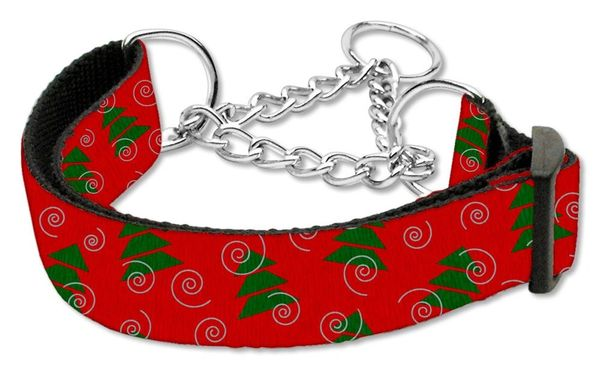 MARTINGALE DOG COLLARS: Nylon Ribbon Dog Collar CHRISTMAS TREES - Matching Leash Sold Separately