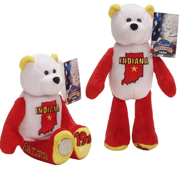 "COIN BEAR #19 INDIANA State Coin 9"" Collectible PLUSH BEAR - LIMITED TREASURES"