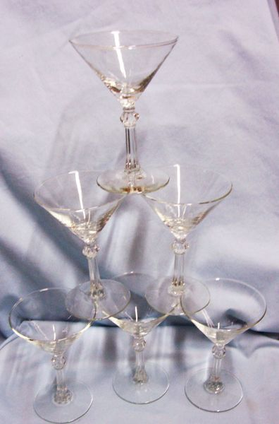 COCKTAIL GLASSES: Beautiful (6) Libbey Multi-sided Knob Long Stemmed Barware Glasses