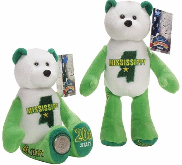 """COIN BEAR #20 MISSISSIPPI State Coin 9"""" Collectible PLUSH BEAR - LIMITED TREASURES"""