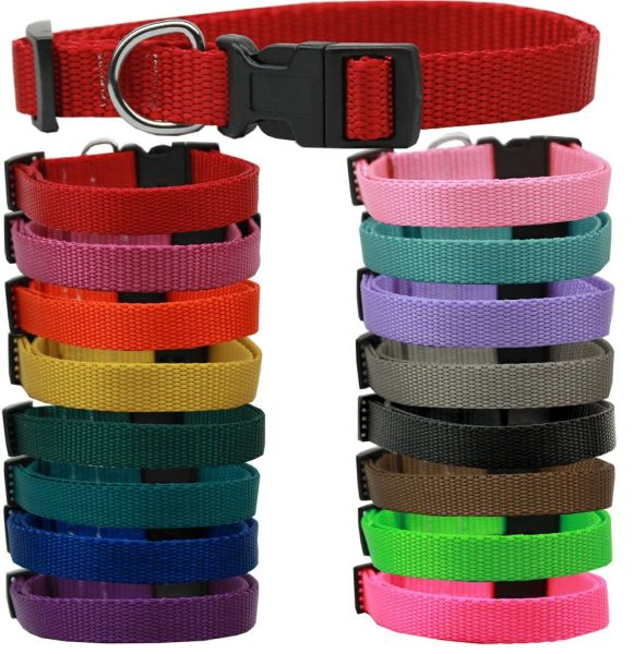 Dog Collars: PLAIN NYLON MARTINGALE Dog Collar in Various Colors & Sizes-Leashes Sold Separately