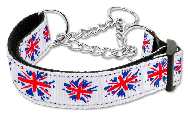 "MARTINGALE DOG COLLARS: Nylon Ribbon 1"" Wide Dog Collar GRAFFITI UNION JACK"