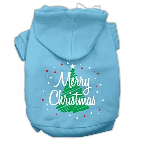 Dog Hoodies: SCRIBBLED MERRY CHRISTMAS Screened Print Dog Hoodie in Various Colors & Sizes