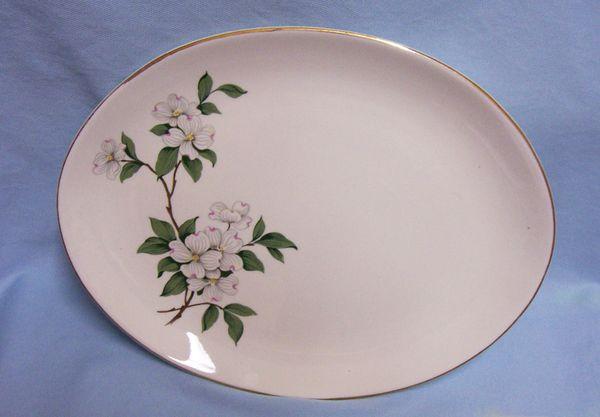 """SERVING PLATTER: Vintage Homer Laughlin Dogwood Design 11.75"""" L Serving Platter"""