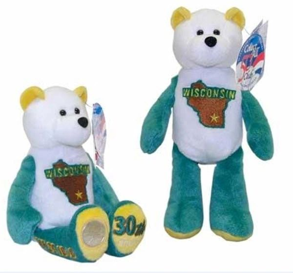 COIN BEAR #30 Wisconsin State Quarter Coin Collectible Plush Bear LIMITED TREASURES
