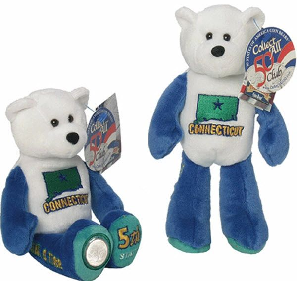 COIN BEAR #5 Connecticut State Quarter Coin Collectible Plush Bear LIMITED TREASURES