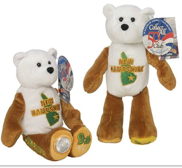 COIN BEAR #9 New Hampshire State Quarter Collectible Plush Bear LIMITED TREASURES