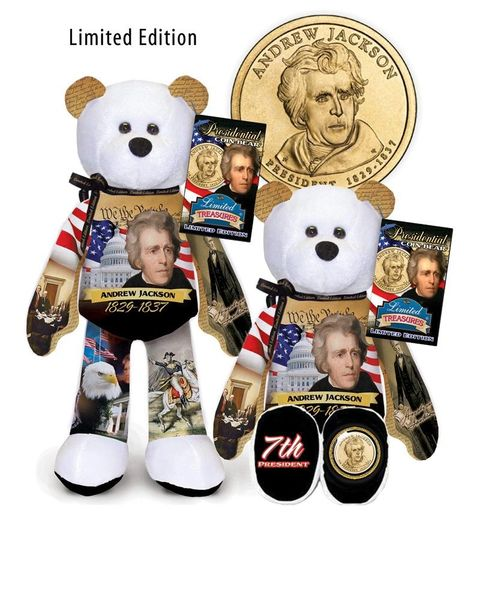 "GOLDEN DOLLAR COIN BEAR #07 Presidential Dollar 9"" PLUSH Bear - ANDREW JACKSON"