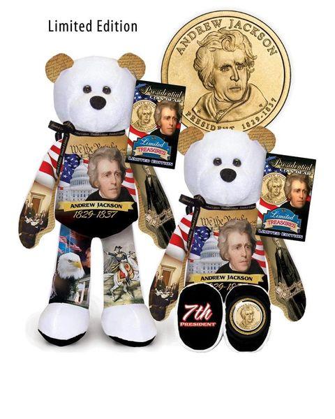"GOLDEN DOLLAR COIN BEAR #07 Presidential Dollar 9"" PLUSH Bear - ANDREW JACKSON"