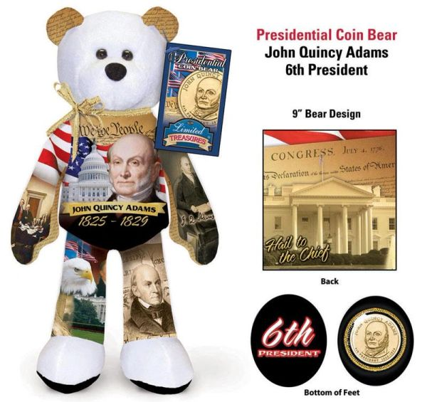 "GOLDEN DOLLAR COIN BEAR #06 Presidential Dollar PLUSH 9"" Bear - JOHN QUINCY ADAMS"