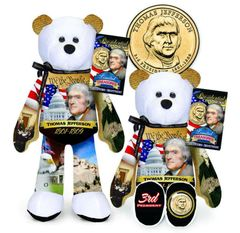 GOLDEN DOLLAR COIN BEAR #3 Presidential Golden Dollar PLUSH Bear - THOMAS JEFFERSON