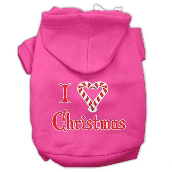 Dog Hoodies: I 'HEART' CHRISTMAS Screen Print Dog Hoodie in Various Colors & Sizes