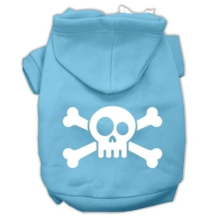 Dog Hoodies: Screen Print SKULL CROSSBONE Dog Hoodie in Various Colors & Sizes