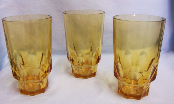 "BEVERAGE GLASSES: Set (3) Vintage Amber Clear Glass with Thumbprint Design 5"" Tall Taper Base"