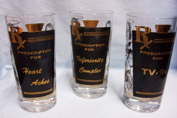 Barware Glasses: Barware Collection Rx Prescription 22K Gold & Black Enamel