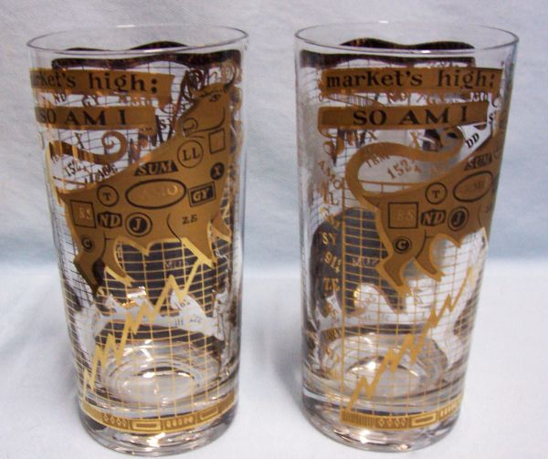 Barware: George Briard Highball Collectible 22K Gold Bear & Bull Stock Market Glasses Signed