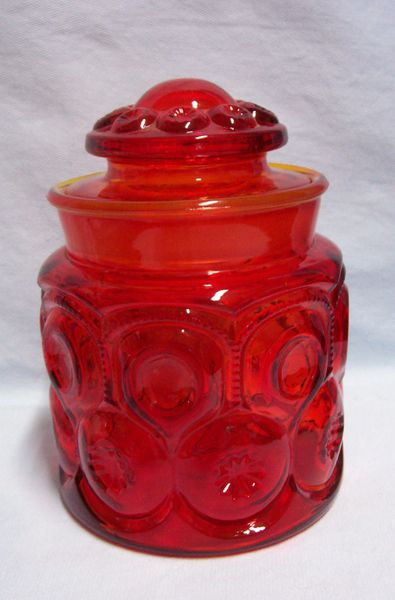 "COFFEE CANISTER & LID - Vintage L.E. Smith Glass 7"" Amberina Moon & Stars 1960s"