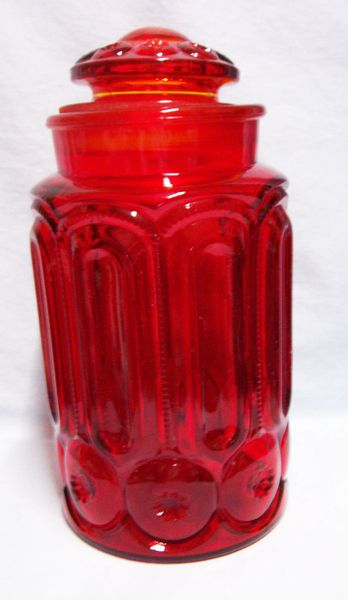 "FLOUR CANISTER & LID: Vintage L.E. Smith Glass 11.25"" Amberina Moon & Stars 1960"