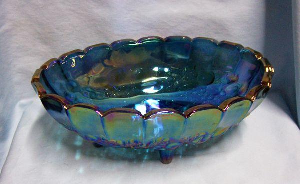 CENTERPIECE FRUIT BOWL Indiana Glass Garland Blue Carnival Glass Iridescent