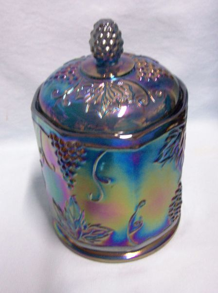 BISCUIT JAR/CANDY JAR Indiana Glass Harvest Grape Blue Carnival Glass Iridescent