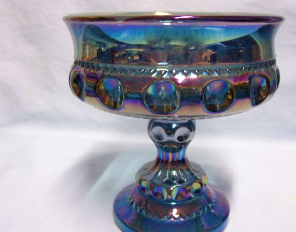 COMPOTE: Indiana Glass Kings Crown Carnival Glass Iridescent Blue Wedding Bowl
